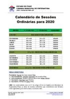Câmara Municipal divulga calendário de Sessões Ordinárias 2020